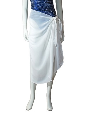 Long white sarong in lovely sheer fabric