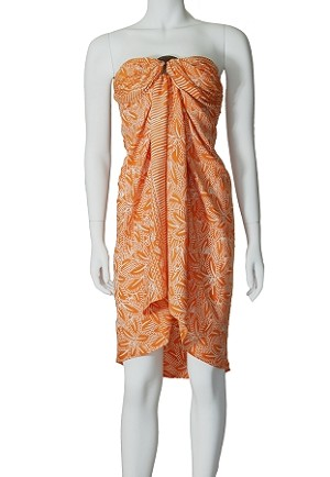 Orange sarong in a fun tropical print